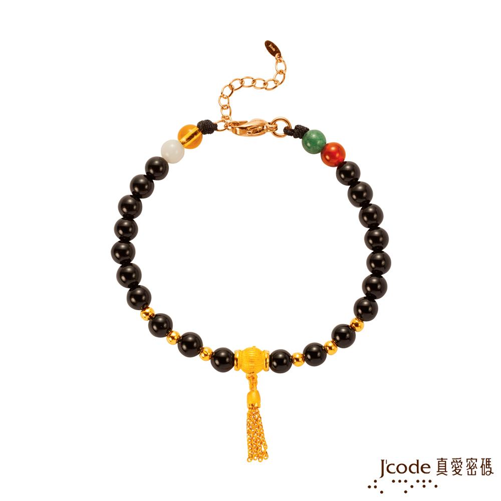 J'code真愛密碼金飾 流金年華黃金/黑瑪瑙手鍊
