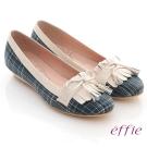 effie 慵懶英倫 格紋流蘇細蝴蝶飾楔型鞋 藍