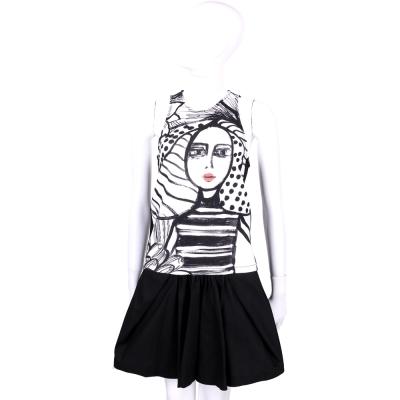 I'm Isola Marras 黑白色肖象墨畫拼接無袖洋裝
