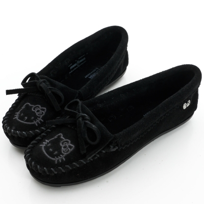 MINNETONKA KITTY聯名 黑色 莫卡辛平底鞋 (展示品)