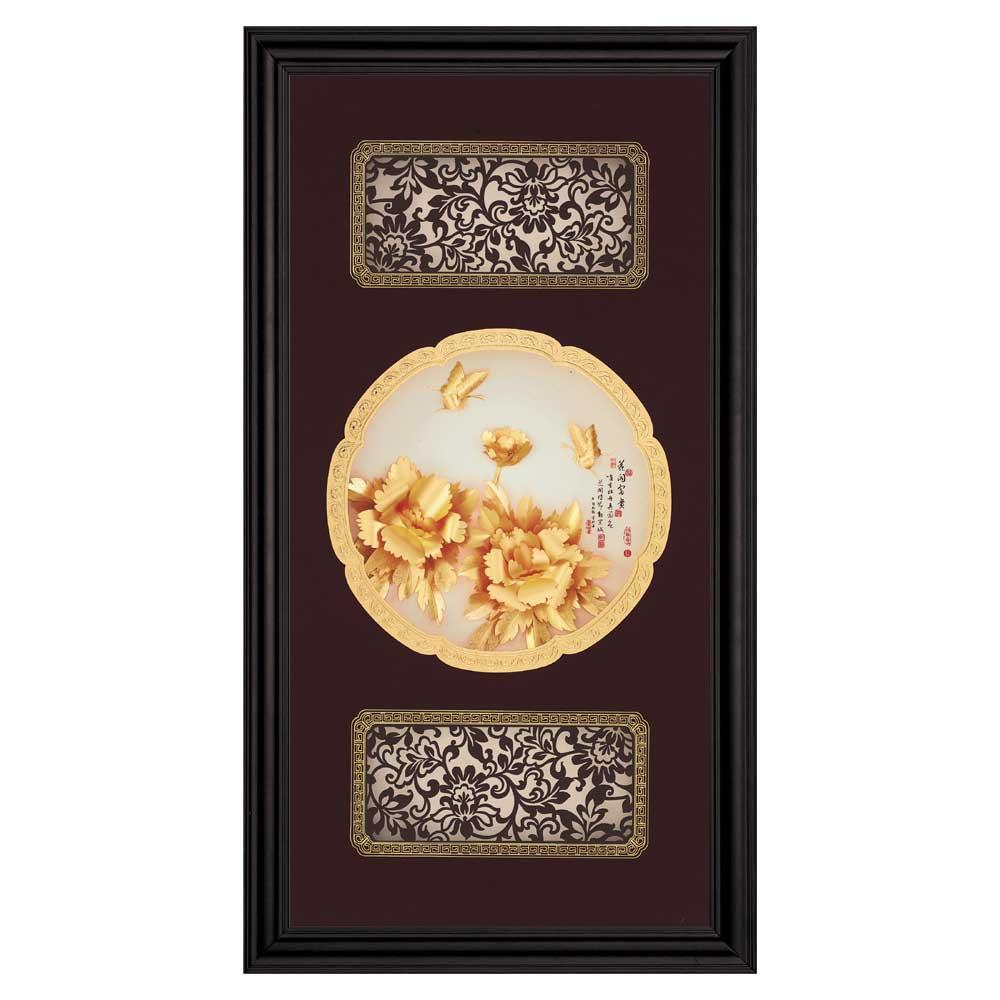 鹿港窯-立體金箔畫-花開富貴(圓滿系列27.5x50.5cm)