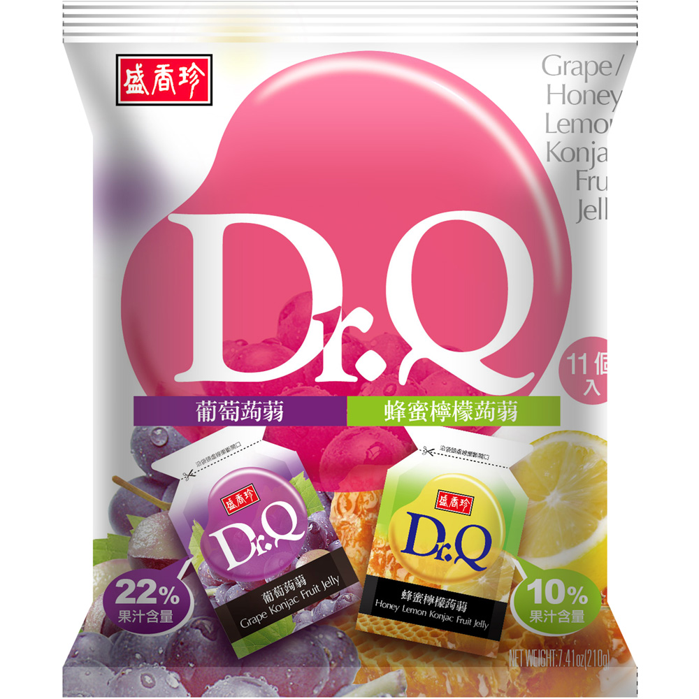 盛香珍 Dr. Q雙味蒟蒻-葡萄+蜂蜜檸檬口味(210g)