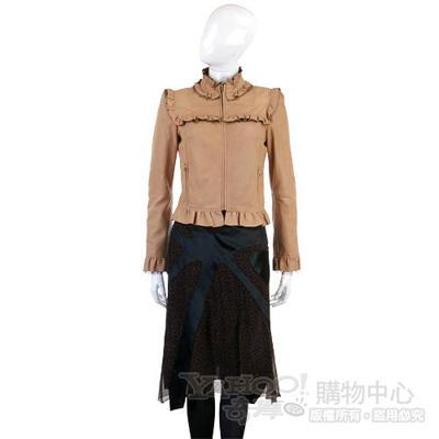 COCCAPANI 咖啡色豹紋拼接造型及膝裙