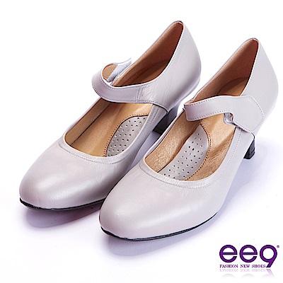 ee9 芯滿益足通勤百搭魔鬼氈飾素面跟鞋 灰色
