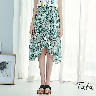 高腰不規則下擺印花裙 TATA