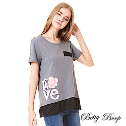 Betty Boop貝蒂 口袋拼雪紡裙襬圓領上衣(共兩色)