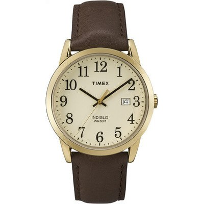 TIMEX -天美時潮流腕錶Easy Reader系列-金框/咖啡色帶-38mm