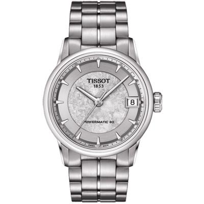 TISSOT LUXURY 少女峰經典機械腕錶T0862071103110-銀灰/33mm