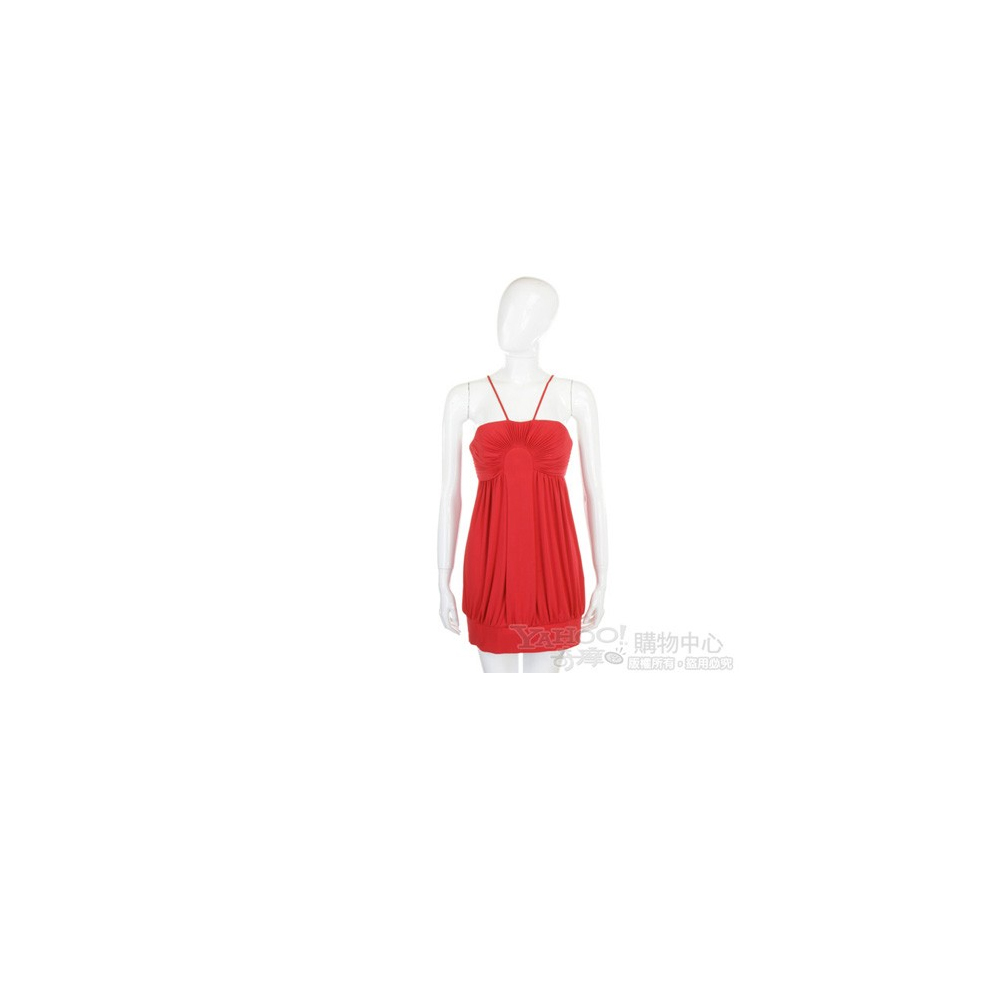 CLASS roberto cavalli 紅色百褶細肩帶短版洋裝