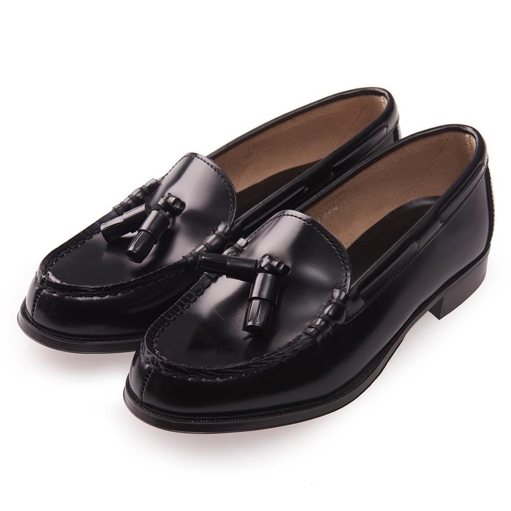 (女)日本 HARUTA 真皮平底流蘇樂福鞋-黑色