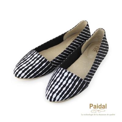 Paidal 水墨紋氣質尖頭娃娃鞋芭蕾舞鞋-黑白