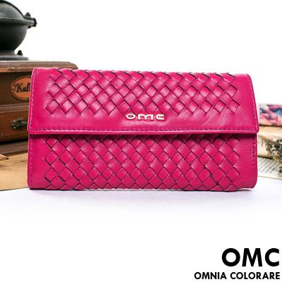 OMC - 韓國專櫃立體編織真皮多層手拿式長夾-甜美桃