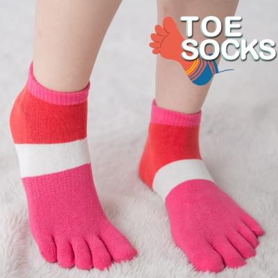 蒂巴蕾TOE-SOCKS乾爽五指短襪-色塊