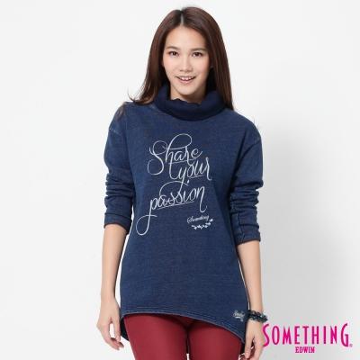 SOMETHING-INDIGO高領T恤-女-中古藍