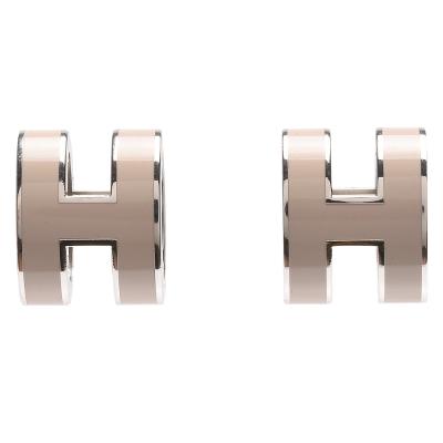 HERMES 經典POP立體H LOGO簍空橢圓穿式耳環(栗棕X銀)