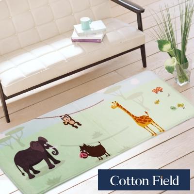 棉花田 長頸鹿和大象 法蘭絨印花防滑走道毯(39x108cm)
