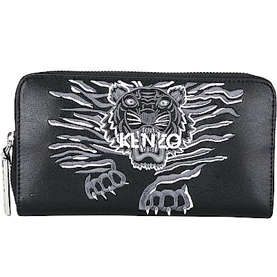 KENZO Crawling Tiger 老虎刺繡圖騰拉鍊長夾(黑色)