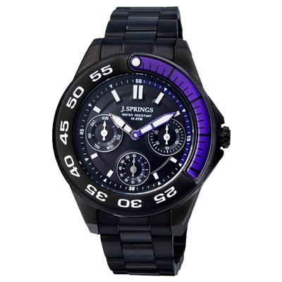 J.SPRINGS系列  八度空間三眼計時時尚腕錶-紫X黑/30mm