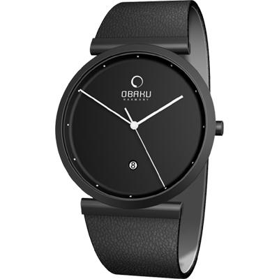 OBAKU 刻劃時光簡約時尚腕錶-全黑/37mm