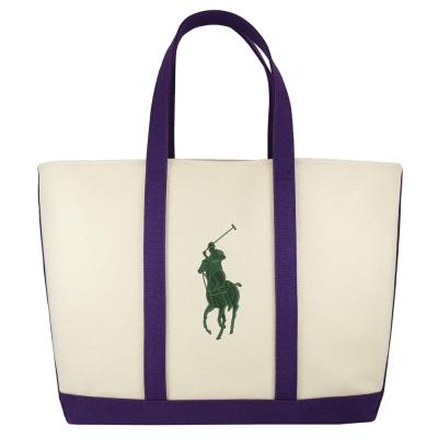 POLO 經典戰馬帆布肩背托特包(大/米白+紫)