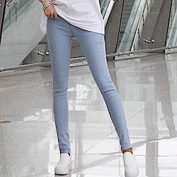正韓 純色縫線窄管牛仔長褲 (淺藍色)-N.C21