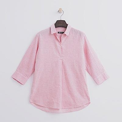 Hang Ten - 女裝 - 半開襟七分袖棉麻襯衫-粉紅色