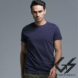 深藍色素面磨毛水洗T恤 (深藍色)-GraphicSpace