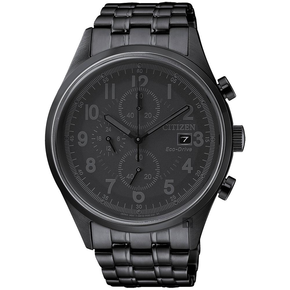 CITIZEN星辰 Chronograph 光動能計時手錶-黑/42mm