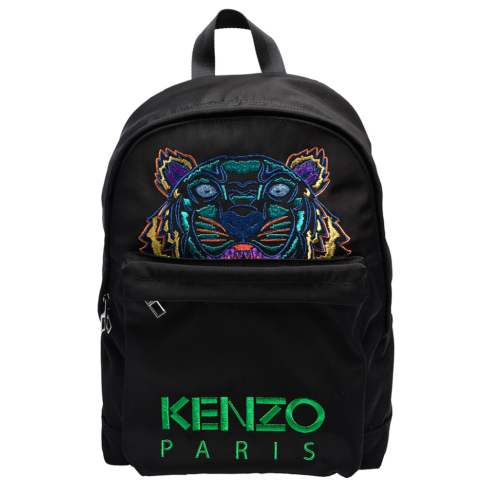 KENZO經典Tiger系列色彩鮮豔老虎刺繡印花帆布手提後背包大-黑