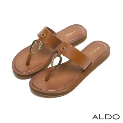 ALDO-原色寬版水滴造型金屬鏤空夾腳涼鞋-個性焦糖