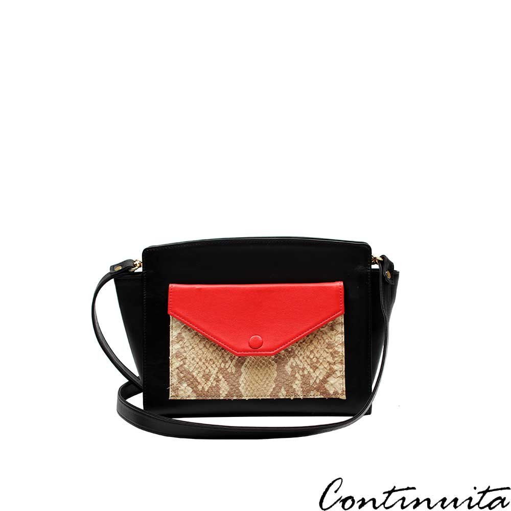 Continuita 康緹尼 頭層牛皮西班牙鱷魚壓紋撞色小方背包-黑色