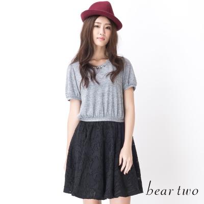 beartwo-鑽飾領口收腰拼接蕾絲洋裝-黑色