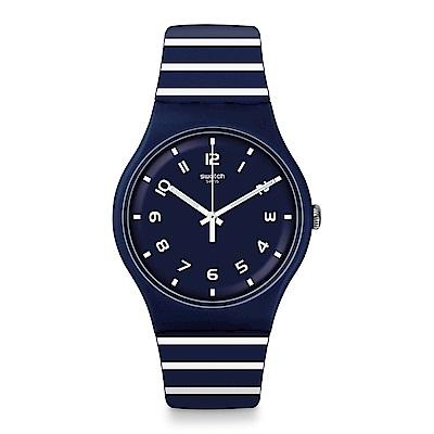 Swatch 情迷地中海  STRIURE 深藍條紋手錶