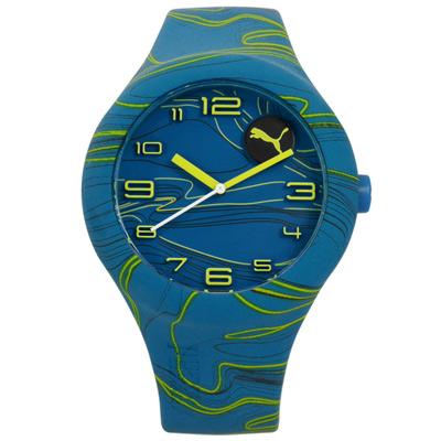 PUMA 動感跳躍線條矽膠手錶-藍色/47mm