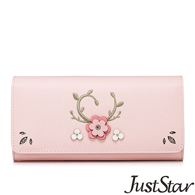 Just Star 花漾電繡圖騰對折長夾 輕甜粉