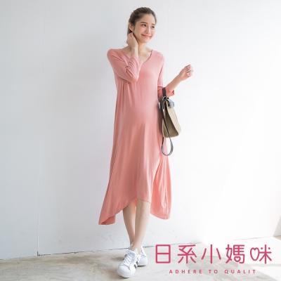 日系小媽咪孕婦裝-韓製孕婦裝-極簡雅致純色長洋裝