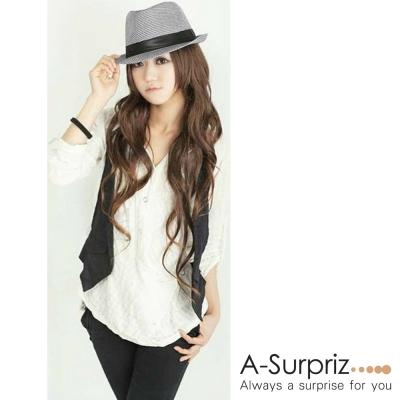 A-Surpriz 英倫千鳥格紋紳士帽(黑白格)