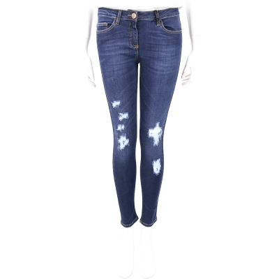 ELISABETTA FRANCHI 藍色仿舊刷破設計牛仔煙管褲