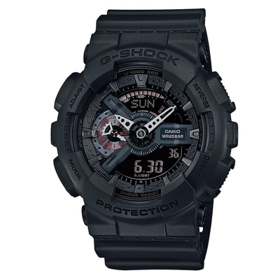 G-SHOCK玩酷潮流風玩家反轉液晶休閒運動錶(GA-110MB-1A)-霧面黑/52mm