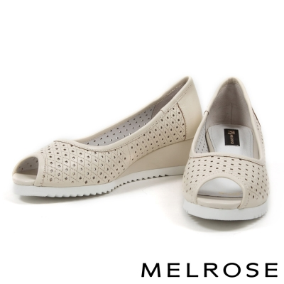 楔型鞋-MELROSE-沖孔羊皮魚口楔型鞋-白