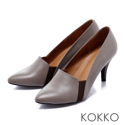 KOKKO經典手工-尖頭極簡性感高跟鞋-灰