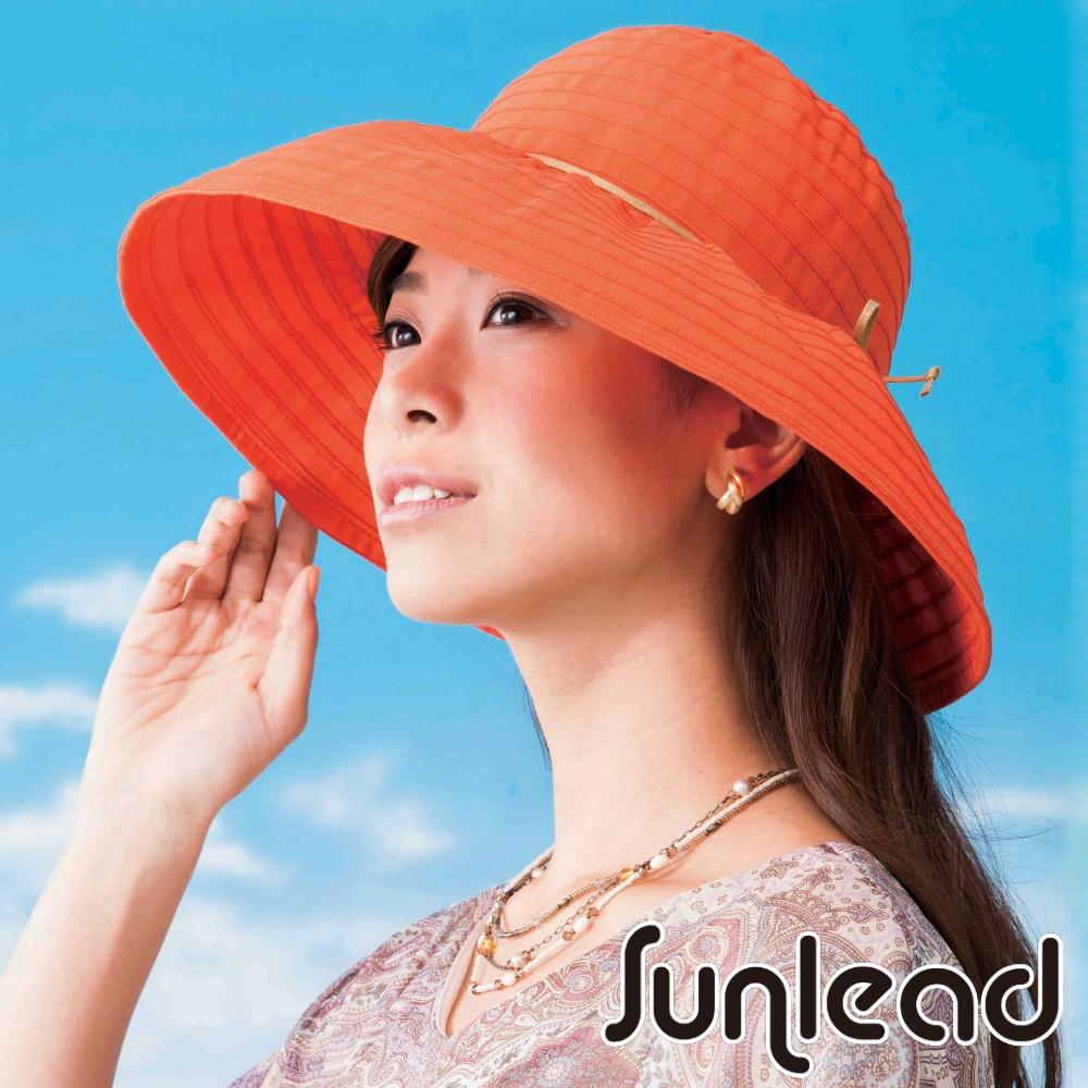 Sunlead 可塑型折邊款。日系寬圓頂寬緣輕量防曬軟帽 (橙橘色)