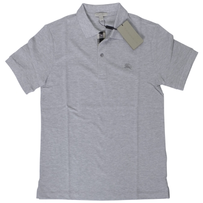 BURBERRY 格紋開襟珠地網眼棉質 POLO 衫 (淺灰)