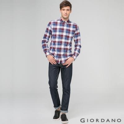 GIORDANO 男裝男裝中腰合身窄腳牛仔褲-50 黑藍