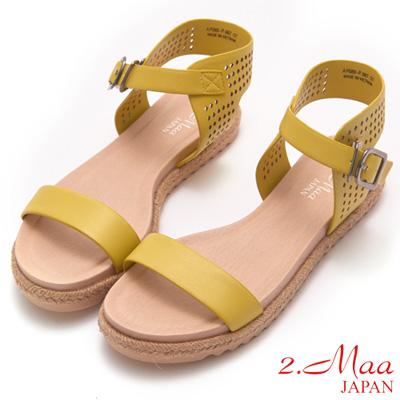 2.Maa-完美酷夏麻編一字鏤空涼鞋-黃
