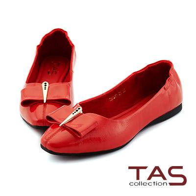 TAS 方形蝴蝶結牛漆皮娃娃鞋-摩登紅