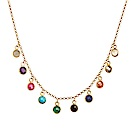 Dogeared 美國品牌 天然彩色礦石水晶珍珠 金色許願項鍊