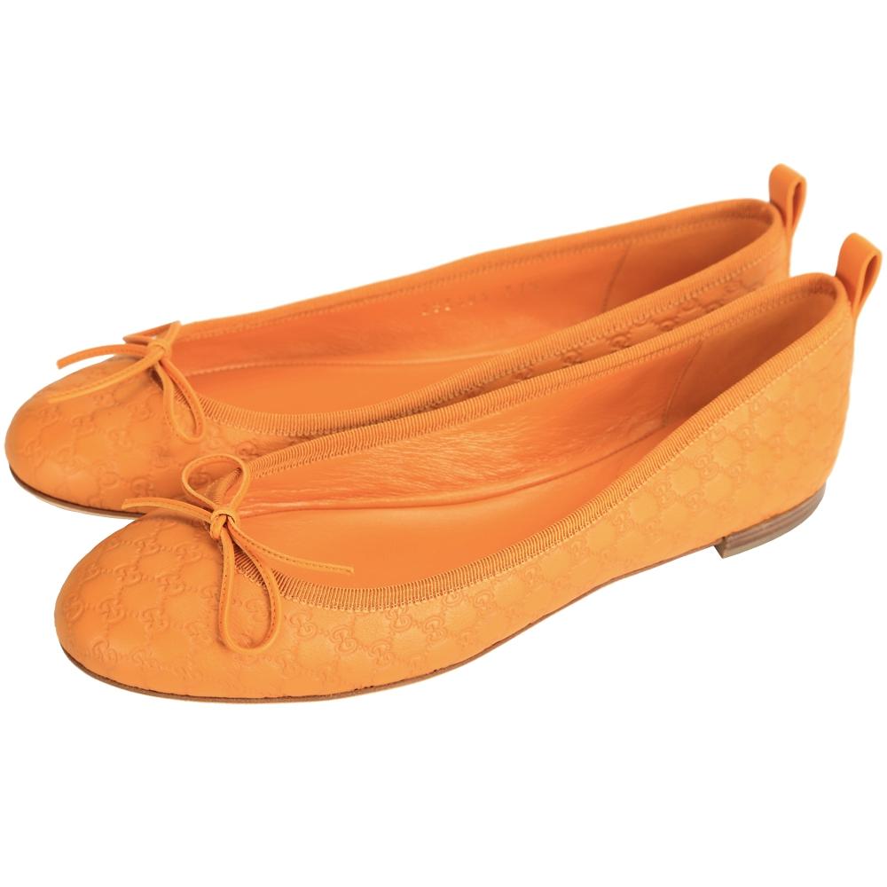 GUCCI microguccissima 壓紋牛皮蝴蝶結飾芭蕾舞鞋(橘色)