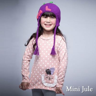 Mini Jule 童裝-上衣 點點動物耳朵口袋長袖棉T(粉)