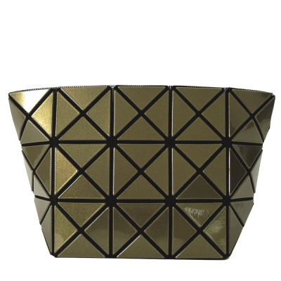 ISSEY MIYAKE 三宅一生 BAOBAO 3x5金屬幾何菱格亮面化妝包(芥綠)